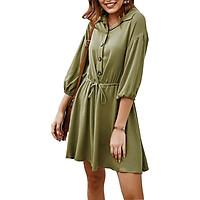 Fashion Women Shirt Dress Solid Turn-down Collar Three Quarter Sleeve Single Breasted Button Drawstring Bandage Mini