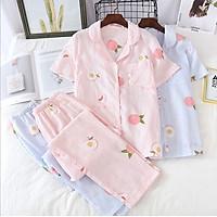 Pijama sau sinh thô đũi, đồ bộ mặc nhà ngắn tay mặc hè cực mát Azuno AZ2993