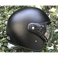 Mũ Bảo Hiểm 368K 3/4 đầu có kính chắn gió đen trơn
