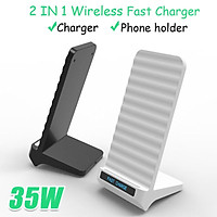 2 in 1 35W Qi Wireless Charger Stand Type-C For iPhone X XS MAX XR 11 Pro 8 Samsungs S20 S10 S9 Fast Charging Dock Sta