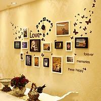 Combo Bộ 15 Khung ảnh Treo Tường Phòng Cưới KA1501 và Đồng Hồ Decal