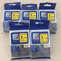 [ Sét 5 cuộn] Nhãn TZ2-FX621 siêu dẻo - Chữ đen trên nền vàng 9mm - Hàng nhập khẩu