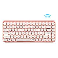 AJAZZ 308i Sakura Powder Bluetooth Wireless Mute Retro Typewriter Personality Round Chocolate Keycap Keyboard Suitable for Andr
