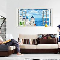 decal dán tường phong cảnh cửa sổ biển ay9234c