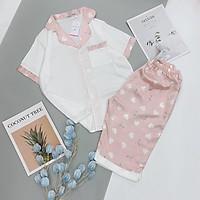 Bộ Lụa Satin Cổ Tim Tay Ngắn Quần Ngố - Babi mama - Đồ Bộ Mặc Nhà Bộ Ngủ Pijama BP04