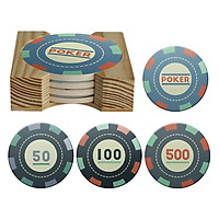 Bộ 4 Lót Ly Tròn + Dock Gỗ Mika - Poker Chips