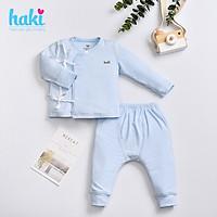 Bộ quần áo sơ sinh vạt lệch buộc dây vải sợi tre cao cấp BB035, set dài tay cho bé hàng chính hãng HAKI