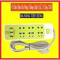 Ổ Cắm Điện Đa Năng, Chống Giật 6 Lỗ, 3 Cổng USB, Đa Năng Tiện Dụng