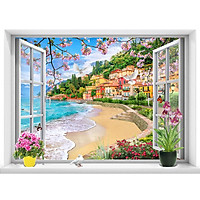 Tranh dán tường cửa sổ cảnh biển đẹp trang trí phòng khách - VT0434