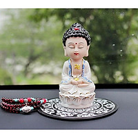 Tượng Phật Ngự Thiền Hoa Sen Trắng Gốm Trắng_Tặng kèm 1 chuỗi hạt Bồ đề