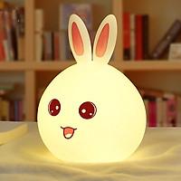 Đèn ngủ hình thỏ cao cấp KHÔNG có điều khiển từ xa ( Màu ngẫu nhiên tai xanh - đỏ ) - Tặng 03 nút kẹp cao su giữ dây điện