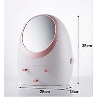 Tủ đựng mỹ phẩm tích hợp gương HD và đèn LED tặng kèm bộ bấm móng tay 9 món cực kì tiện dụng