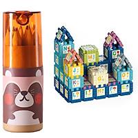 Bộ đồ chơi trẻ em bút chì màu bằng gỗ 12 chiếc cho bé học vẽ - giao hộp ngẫu nhiên - tặng đồ chơi lắp ghép cho bé