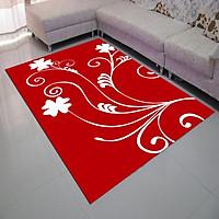 Thảm nhung 3D nền đỏ dây leo trắng TSN15 (120x160cm)
