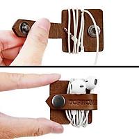 Dụng cụ quấn tai nghe điện thoại bằng Da bò thật-dùng được cho các loại tai nghe-giao màu ngẫu nhiên