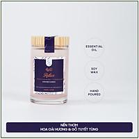 Nến thơm hương oải hương và gỗ tuyết tùng tinh dầu thiên nhiên cao cấp - Bấc gỗ, không khói - Sáp nành [Relax Candle]