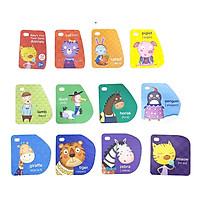 Thẻ học tiếng Anh Pinwhell sản phẩm giáo dục cho trẻ từ 2-6 tuổi bé qua hình động vật ngộ nghĩnh, màu sắc tươi sáng thẻ 12 tấm