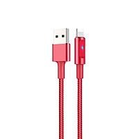 Cáp sạc nhanh 2.4A Hoco chuẩn Lightning, dây bọc dù siêu bền, có LED báo sạc, tự ngắt sạc khi pin đầy, dành cho iPhone XS max/iPhone 11/iPhone 11 Pro max, U47 - Hàng chính hãng