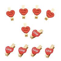 Bộ 10 kẹp gỗ trái tim It's my heart - Love
