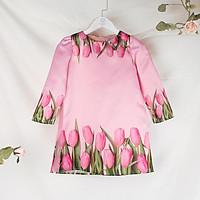 Áo Dài Cách Tân In Hoa Tulip Cho Bé Mặc Tết