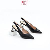 Giày Cao Gót 4cm Hở Gót Da Bóng Đế Sơn Đồng Màu Đen Pixie X460