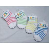 Set 5 đôi vớ sọc cổ cao cho bé sơ sinh 0~6 tháng