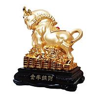 Tượng Chú Trâu Vàng Kim Tiền Tài Phú Quý kích thước 17*13*9