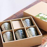 Sét 5 cốc gốm sứ uống trà 300ml phong cách Nhật Bản - họa tiết hoa nhí