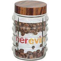 Hũ Thuỷ Tinh Herevin Tròn Sọc Nắp Woody 1.5L - 231902