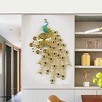 Đồng Hồ Treo TườngCon Chim Công Kim Trôi A59 Nghệ Thuật Cao Cấp Shouse hiện đại 3D kích cỡ lớn đẹp treo phòng khách