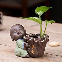 Tượng chú tiểu ôm cải thảo Vạn Sự May Mắn - trồng cây, cắm hoa & trang trí