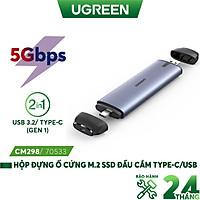 Hộp đựng ổ cứng M.2 B-Key NGFF ra type c 3.1 gen 2 và usb 3.0 - UGREEN CM298 70533 - Hàng nhập khẩu chính hãng