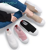 Giày Lười Nữ Kiểu Dáng Thể Thao Cổ Chun MINSU M2804, SlipOn Bata Hàn Quốc Cổ Chun Dành Cho Các Bạn Nữ Thích Tối Giản