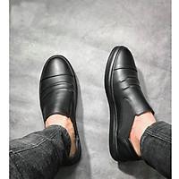 Giày mọi lười Slip on phối thun nam da bò nguyên tấm chống hôi chân, thoáng khí, êm chân SHOES 2H size 38-43, Đen 2H-72