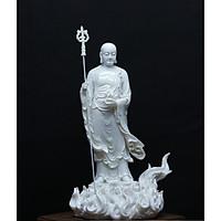 Tượng Phật Địa Tạng Vương Bồ Tát đứng trên đài lửa- làm bằng Bột đá -kích thước DxRxC =12x16x23cm