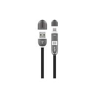 Cáp sạc đang năng nhỏ gọn dây phẳng chống rối 2 trong 1 Micro và Lightning dài 1m - Duo Charging & Data Cable Actto USB-16 - Hàng chính hãng