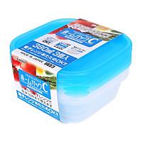 Combo Set 2 Hộp Nhựa Đựng Thực Phẩm (650Ml) Màu Hồng + Set 3 Hộp Nhựa Dùng Được Lò Vi Sóng Màu Xanh (380Ml) - Nội Địa Nhật Bản