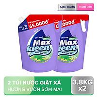 Combo 2 túi nước giặt xả Maxkleen hương Vườn Sớm Mai 3.8kg/túi
