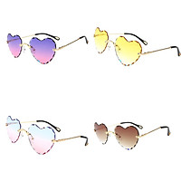 4x Heart Frame Rimless Sunglasses Retro Designer Party Tinted Lens Eyewear