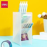 Ống cắm bút đựng đồ văn phòng Deli - 4/ 5 ngăn-màu trắng trong -giúp bàn làm việc gọn gàng - 8934/8935/8936