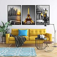 Bộ 3 tranh canvas treo tường Decor Thành phố PARIS cổ điển và hiện đại - DC102