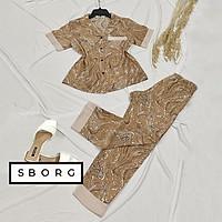 Đồ bộ trung niên SBORG bộ pijama nữ lụa mango cao cấp mềm mát họa tiết hoa nhí dễ thương, tay ngắn quần dài có túi bigsize 45-75kg quà tặng Mẹ có thể mặc nhà hoặc đi chơi
