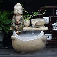 Thác Nước Phong Thủy Gốm Trắng Phật Cối Xoay T1