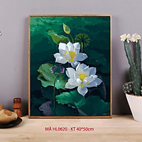Tranh sơn dầu số hóa tự vẽ - Mã HL0620 Hoa sen trắng Tranh hoa cỏ trang trí cổ điển sang trọng