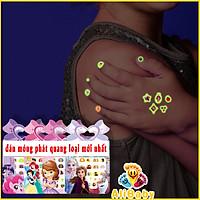 Combo 3 Bộ Dán Móng Tay Phát Quang Trong Tối 3D Hình Công Chúa Elsa, Bạch Tuyết, Ngựa Pony Xinh Xắn Cho Bé Gái E263