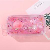 Hộp bút nhựa trong suốt hình quả đào hồng nhũ kim tuyến nước - nhiều mẫu