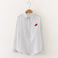 Fruit Embroidery Female Shirts Outwear Tops Autumn Women Cotton Blouse Office Lady V-neck Button Loose Clothing