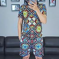 Bộ thể thao nam, bộ quần áo mặc nhà nam vải thun in họa tiết 3D- mã 01