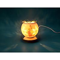 Đèn xông tinh dầu gốm trắng hoa văn mini