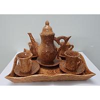 Bình trà cổ cao gỗ dừa